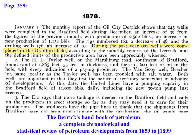 "902<br /> Page 259, The Derrick's hand-book of petroleum:<br /> a complete chronological and statistical review of petroleum developments <br /> from 1859 to [1899] (Google eBook)<br /> Derrick publishing company, 1900 - Technology & Engineering<br /> <br /> <a href=""http://books.google.com/books?id=UglFAAAAYAAJ&lpg=PA263&ots=xBkAH4fGwS&dq=Bradford%20oil&pg=PA259#v=onepage&q&f=false"">http://books.google.com/books?id=UglFAAAAYAAJ&lpg=PA263&ots=xBkAH4fGwS&dq=Bradford%20oil&pg=PA259#v=onepage&q&f=false</a>"