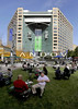 P1.1 Quicken Photo for Chapter 1 Opener<br /> <br /> Choice 10 of 15<br /> <br /> Campus Martius Park viewed during lunchtime in downtown Detroit, MI, Tuesday, October 11, 2011. In the background is the Compuware building, were Quicken Loans headquarters leases four floors of office space.