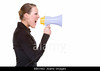 P9.6 Colleagues shouting at each other<br /> <br /> Choice 16 of 20 / FEMALE FACING RIGHT<br /> <br /> <br /> BBKH82 Full isolated portrait of a beautiful caucasian businesswoman shouting with a megaphone