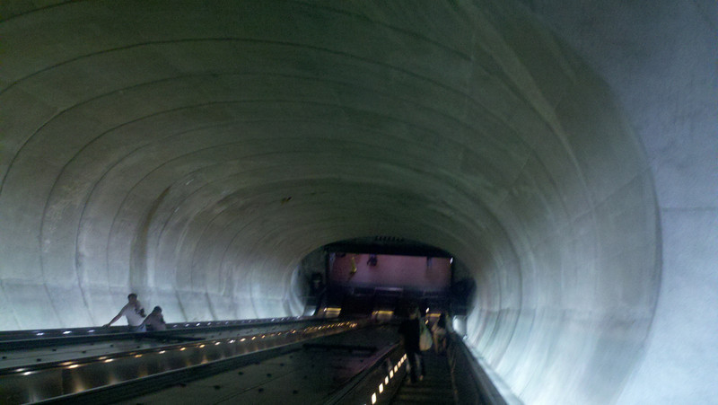 Cooper - To get to the metro trains, you have to take a giant escalator down a tunnel.