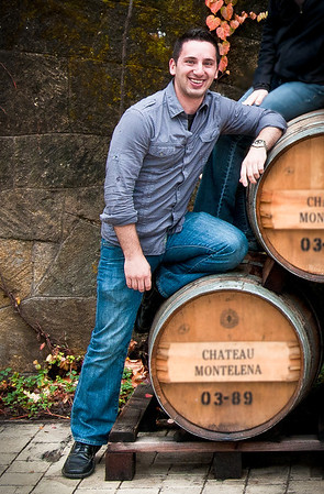 In front of Chateau Montelena's barrel's