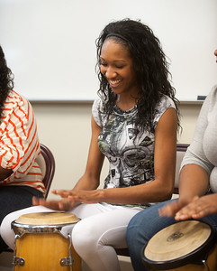 Students in class of Colleen Haas have the opportunity to play African drums in advance of a visit by master musician Bernard Woma and two dancers from Ghana.