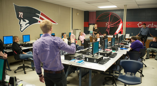 Business students discuss ethics during a presentation for a class at Terre Haute North High School
