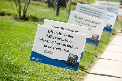 Diversity signs on campus