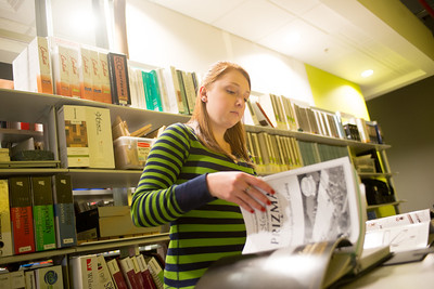 Taylor Nelson in Interior Architecture and Design library in the College of Technologu