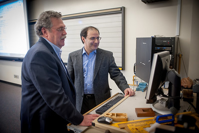 George Maughan and Dr. Shahhosseini in a classroom in the College of Technology