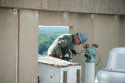 Three peregrine falcon chicks are removed from their nest on the top of the Scott College of Business. The chicks were tagged and put back into the nest box