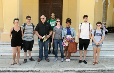 From left, Indiana State students Madeline Nelson, Nate Walker, professor Gaston Fernandez, Shan Patel, Hanna Brant, Tatianna Wilkes, Jerry Cooper and Katherine Runge pose for a photograph in Cuba. Photo courtesy of Katherine Runge/Indiana State University