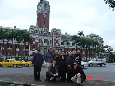 group in front of Taiwan's presidential building