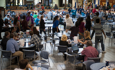 International Students participate in a flash mob at lunch time in the Commons