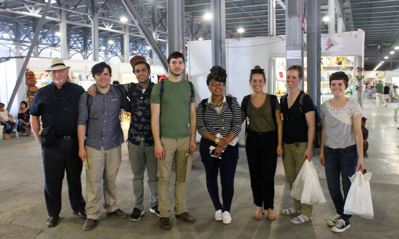 From left, Indiana State University professor Gaston Fernandez and students Nate Walker, Shan Patel, Jerry Cooper, Tatianna Wilkes, Madeline Nelson, Hanna Brant and Katherine Runge pose for a photograph in Cuba. Photo courtesy of Katherine Runge/Indiana State University