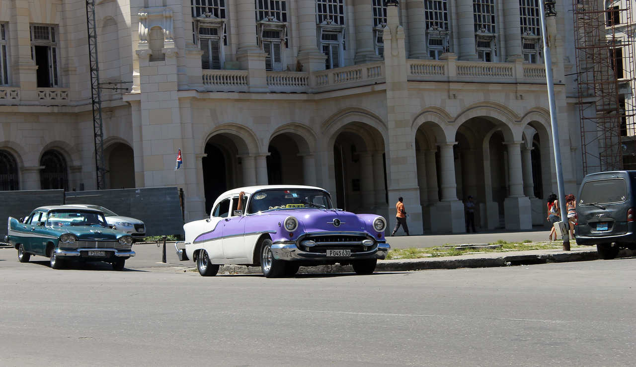 A street in Cuba is seen. Cars in this island country are quite expensive, so it's not uncommon to see mostly 50s-era American or 70s-era Soviet model cars. Photo by Katherine Runge/Indiana State University