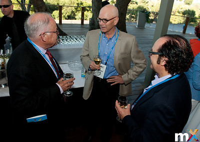 From Left to Right: Chuck House, mediaX Distinguished Visiting Scholar; Byron Reeves, Stanford University and Neil Jacobstein, mediaX Distinguished Visiting Scholar  mediaX Appreciation Dinner April 28th, 2014 Photo Credit: Steve Castillo