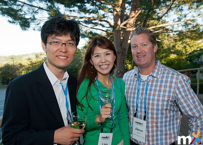 From Left to Right: Young-Yoon Lee, Samsung Electronics Co, Ltd.; Lisa Watanabe, Tokyo Gas Company and Jason Wilmot, mediaX at Stanford University  mediaX Appreciation Dinner April 28th, 2014 Photo Credit: Steve Castillo