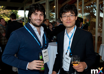From Left to Right: Mauro Della Penna, Entropy Control and Young-Yoon Lee, Samsung Electronics Co, Ltd.  mediaX Appreciation Dinner April 28th, 2014 Photo Credit: Steve Castillo