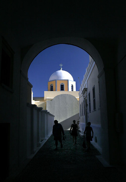 Pathway and church, Firostefani, Santorini