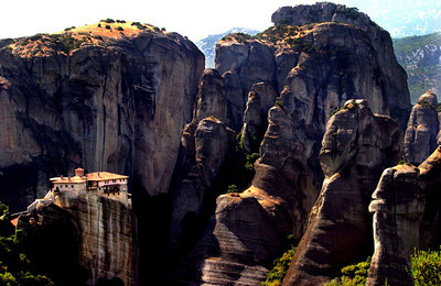 The monastery of Agia Barbara Roussanou, Meteora, Greece.