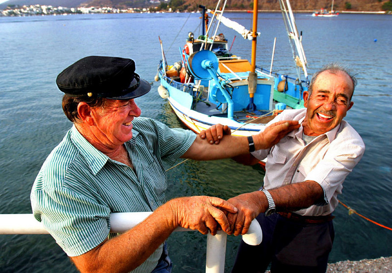 Two old fishing buddies, the island of Patmos, Greece.
