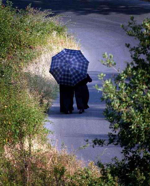 Nuns take a stroll, Meteora, Greece