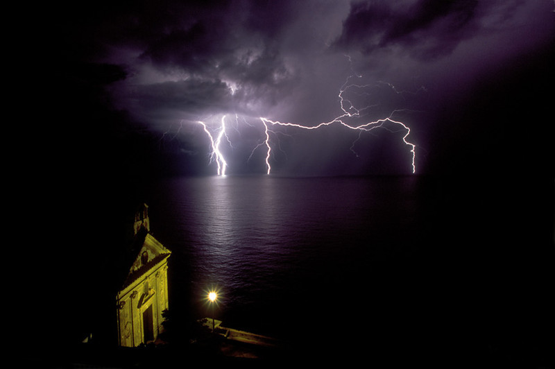 Lightning on the Tyrrhenian Sea on the Amalfi Coast of Italy.