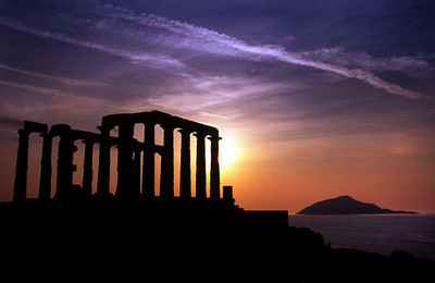 The Temple of Poseidon, Cape Sounion near Athens.