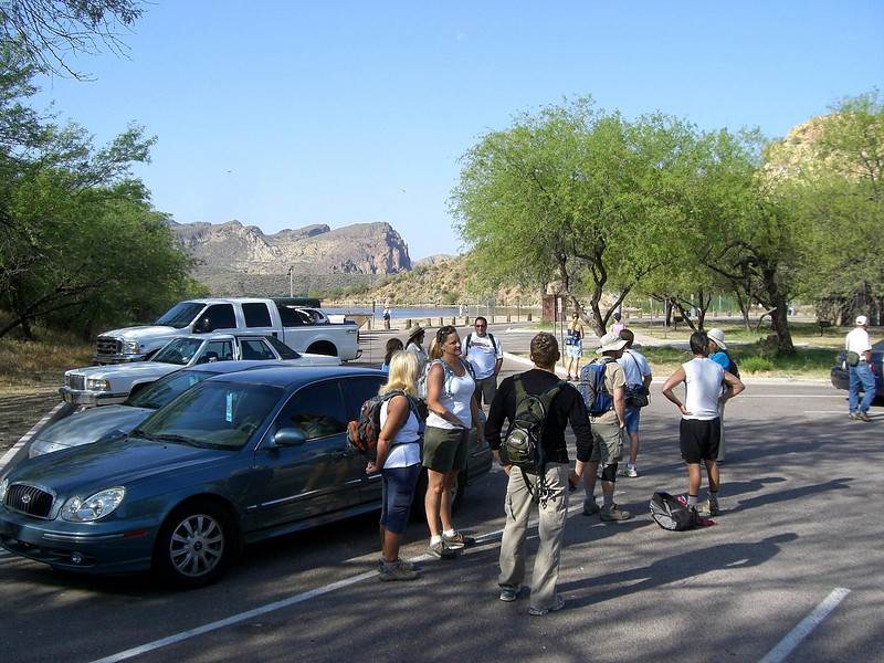 Our group congregates in the parking lot near the beach at Saguaro Lake before the hike.