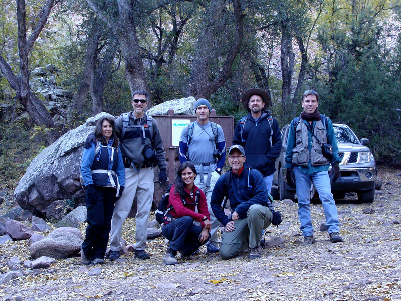 Group picture at trailhead.  (front: Gladys and Kurt, back: Chris, David, Travis, Michael, and Rob)