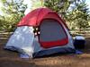 "My tent, including my ""killer"" bear mascot!"