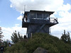 The fire watch tower at the summit.  It was manned but he wasnt taking any visitors inside this day.