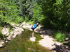 "D'Vette doing her ""dancer"" yoga pose in the creek :)"