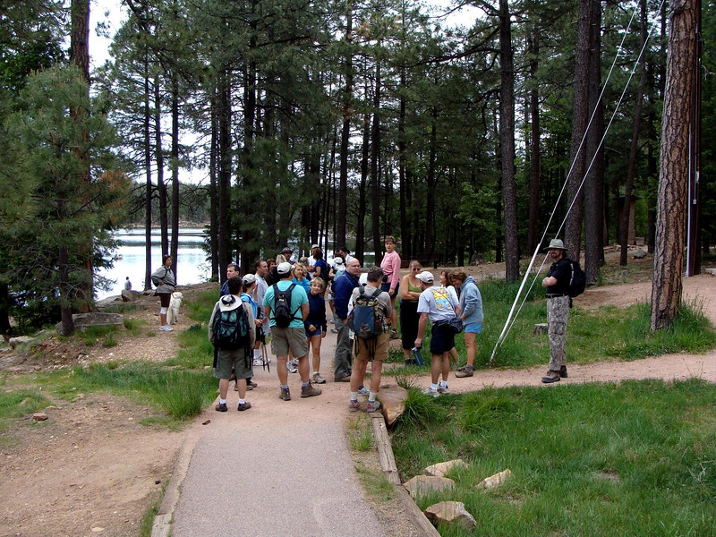 The group starts to gather near one end of the parking lot.  From here half the group continued on the trail in the picture, going counter clockwise around the lake...