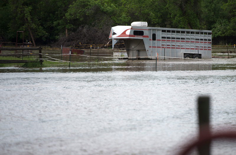 Justin Sheely | The Sheridan Press<br /> A horse trailer is seen near Leopard Street in Sheridan Tuesday, May 29, 2018. More than two inches of rain fell over Memorial Day weekend causing area flooding near creeks throughout Sheridan County.