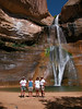 LOWER CALF CREEK FALLS While working in Bryce Canyon Natl Park in Utah, I met back up with buddies Roger and Maria (far right) and a Ranger friend from our Snow Canyon State Park days, Kendall. Here we are on a hike to Lower Calf Creek Falls, a photo suppiied by Roger and Maria, since <i>all</i> my photos from this hike were lost due to computer ineptitude.
