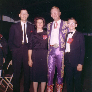 WITH REX ALLEN Here are Mom and Dad and me in 1965 with the popular western actor and entertainer, Rex Allen, backstage at the Market Place in Dallas. My sister, Lyn, got us in to meet him as she worked for a booking agency back then. Don't I look proud!