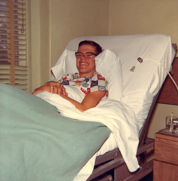 APPENDECTOMY -- 1966<br /> I look happy now, but only because it doesn't hurt anymore. I woke up in the middle of the night to what I thought was an emergency trip to the bathroom, but collapsed in pain in Grandpa's backyard. Barely able to cry out for help, I finally woke up Grandpa and he and a neighbor, George Tom, piled me into George Tom's car and rushed me here to the Rollins-Brook Hospital in Lampasas -- 30 miles away! Dr Brooks himself operated on me and said had we been just a few minutes later, my appendix would've burst and I most likely wouldn't have made it. Whew!