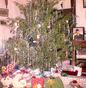 CHRISTMAS 1960 Hey, we've moved into the color age now, like Dorothy landing in Oz. It was always one of the big things to head out into the countrysided and chop down a proper cedar tree to use as a Christmas tree, and decorate the crap out of it. People just don't do that kind of thing anymore -- unless maybe you're the Griswold Family. The smell of the tree was pure heaven and it always brings back fond memories of great piles of booty whenever I smell another one. That's Uncle Sonny's Army service picture on the table to the right.