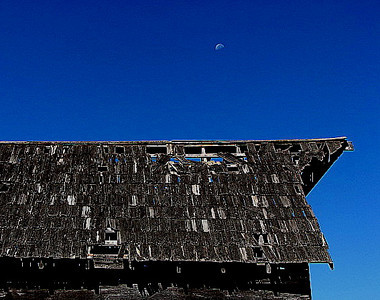 Old Barn with Moon
