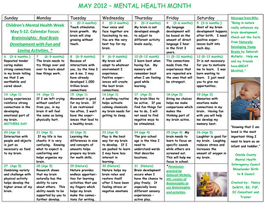 Mental Health activity calendar
