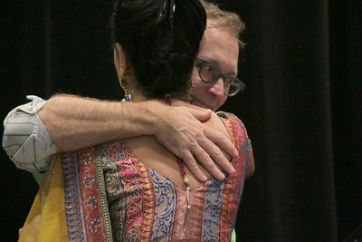"Eduardo Vega embraces Gayathri Ramprasad at the ""Tools for Change"" conference, March 7th-8th, 2014, hosted by the Center for Dignity, Recovery & Empowerment, a state wide agency of the Mental Health Association of San Francisco."