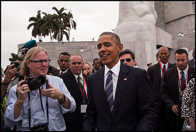 Peter Turnley with President Obama in Cuba.