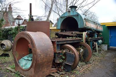 0-4-0ST No2 'Castle Donington'  in pieces in Yaxham Station Yard  13/02/16