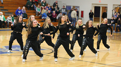 """Midview High School's dance team """"The Skippers"""" perform for the crowd at halftime during the Midview tournament final Saturday night.  photo by Ray Riedel"""