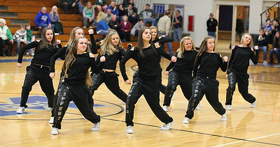 "Midview High School's dance team ""The Skippers"" perform for the crowd at halftime during the Midview tournament final Saturday night.  photo by Ray Riedel"