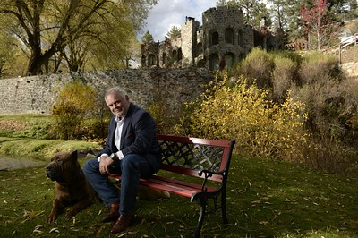 Mike Dunafon outside of his castle-home in Idledale. Photo by Cyrus McCrimmon, the Denver Post.