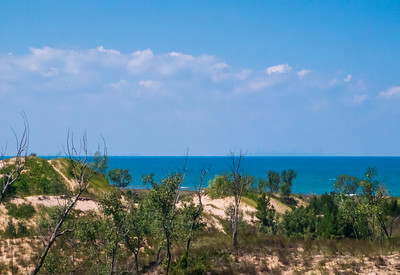 Lake Michigan, Indiana Dunes National Lakeshore, with Chicago Skyline on the Horizon