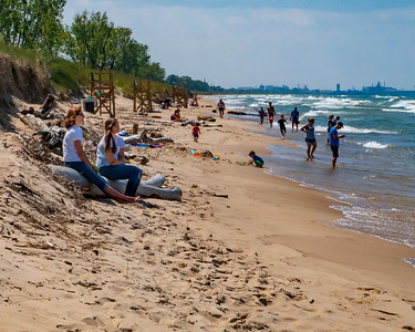 West Beach, Indiana Dunes National Lakeshore, with Gary Indiana Industry in the Distance.