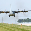 The Blue Angels' C-130 support aircraft arrives at the Mankato Regional Airport Wednesday.