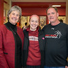 Jessica Lam poses with Bridgewater Womens Basketball coach Jean Willi and ERHS Girls Basketball Coach Paul Comer