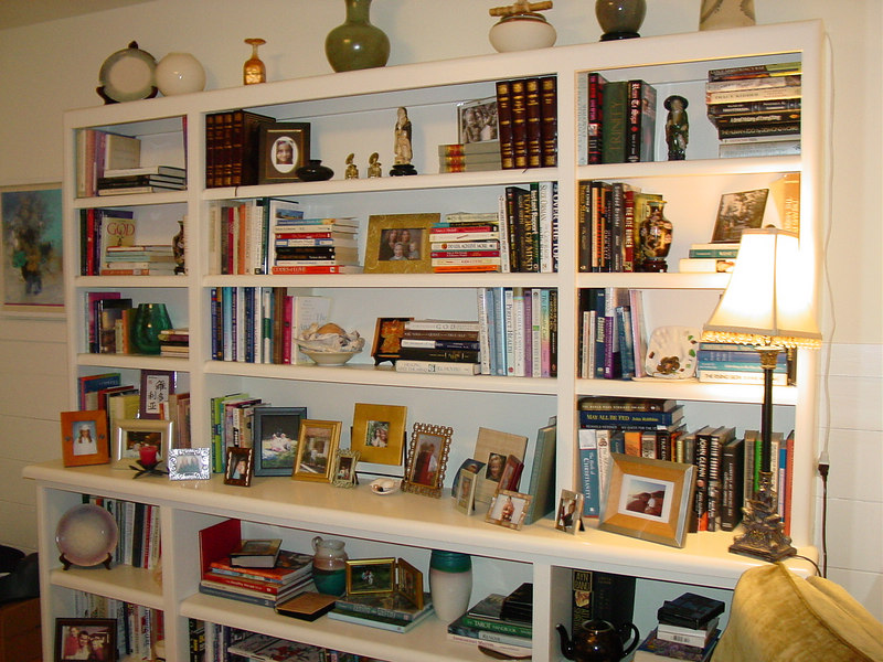 Paint Grade Display/Bookcase Cabinet with Adjustable Shelves