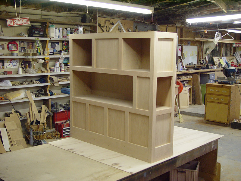 "4 Sided Oak ""Cubby"" Room Devider on Jeffs Bench (view small)"